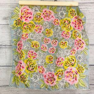 Accessories - Silk Floral Square Scarf